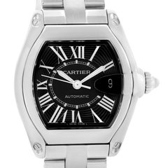 Cartier Roadster Black Roman Dial Men's Watch W62041V3 Box Strap