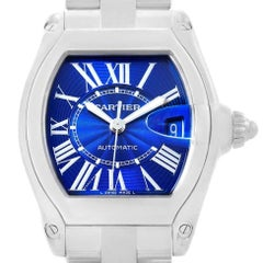 Cartier Roadster Blue Dial Steel Men's Watch W62048V3 Box Papers