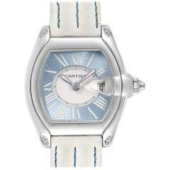 Cartier Roadster Blue Dial White Strap Steel Ladies Watch W62053V3
