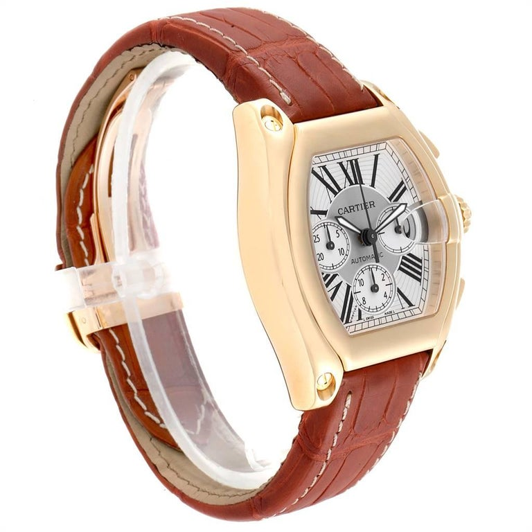 Cartier Roadster Brown Strap Yellow Gold Chronograph Men's Watch W62021Y3 In Excellent Condition For Sale In Atlanta, GA