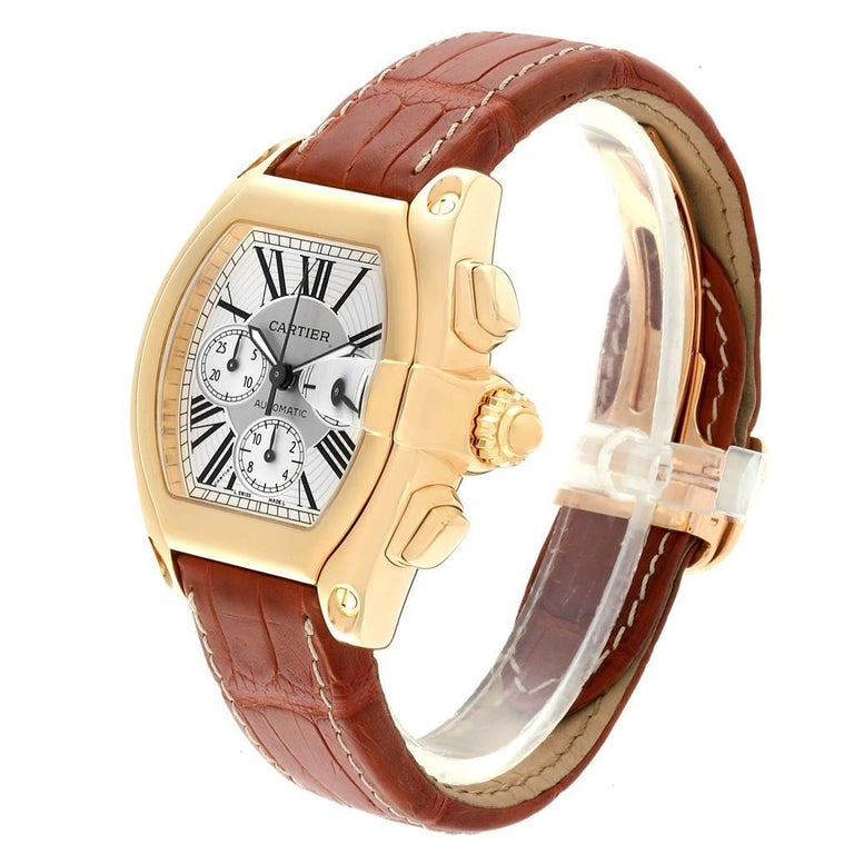Cartier Roadster Brown Strap Yellow Gold Chronograph Men's Watch W62021Y3 For Sale 1