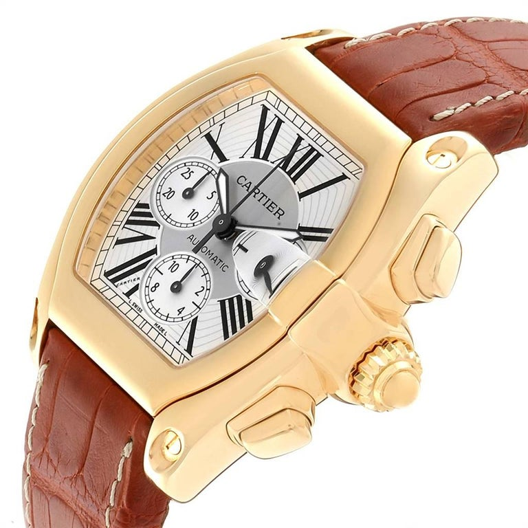 Cartier Roadster Brown Strap Yellow Gold Chronograph Men's Watch W62021Y3 For Sale 2
