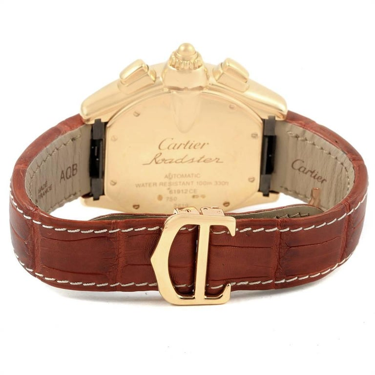Cartier Roadster Brown Strap Yellow Gold Chronograph Men's Watch W62021Y3 For Sale 4