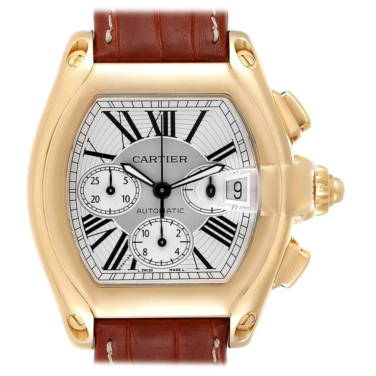 Cartier Roadster Brown Strap Yellow Gold Chronograph Men's Watch W62021Y3 For Sale