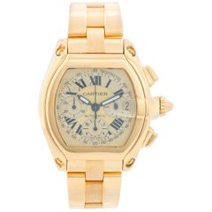 Cartier Roadster Chronograph 18 Karat Yellow Gold Men's Watch W62021Y2