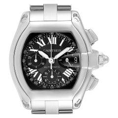 Cartier Roadster Chronograph Black Dial Men's Steel Watch W62007X6