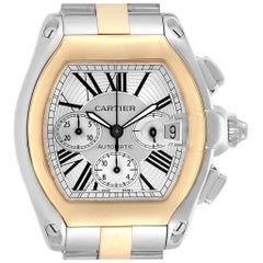 Cartier Roadster Chronograph Men's Steel Yellow Gold Watch W62027Z1