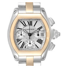 Cartier Roadster Chronograph Men's Steel Yellow Gold Watch W62027Z1