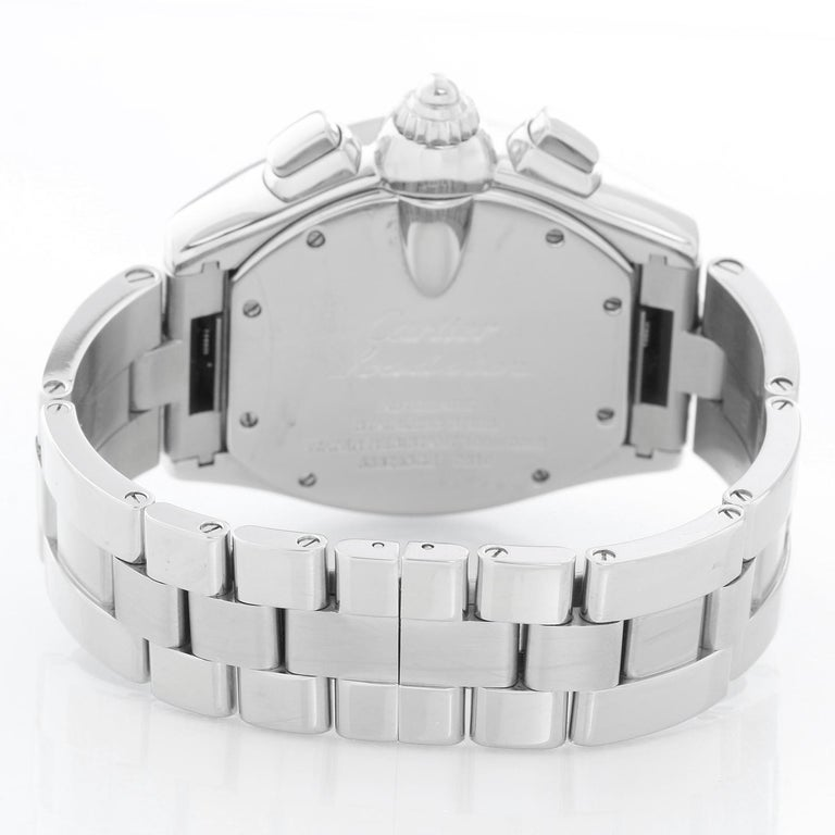 Cartier Roadster Chronograph Stainless Steel Men's Watch In Excellent Condition For Sale In Dallas, TX