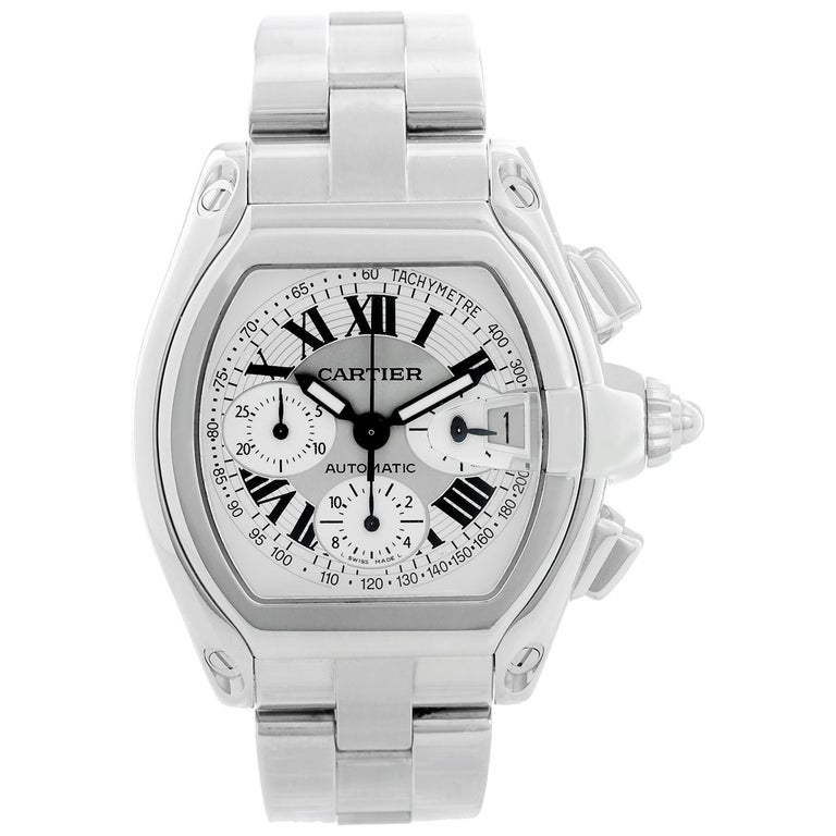 Cartier Roadster Chronograph Stainless Steel Men's Watch For Sale