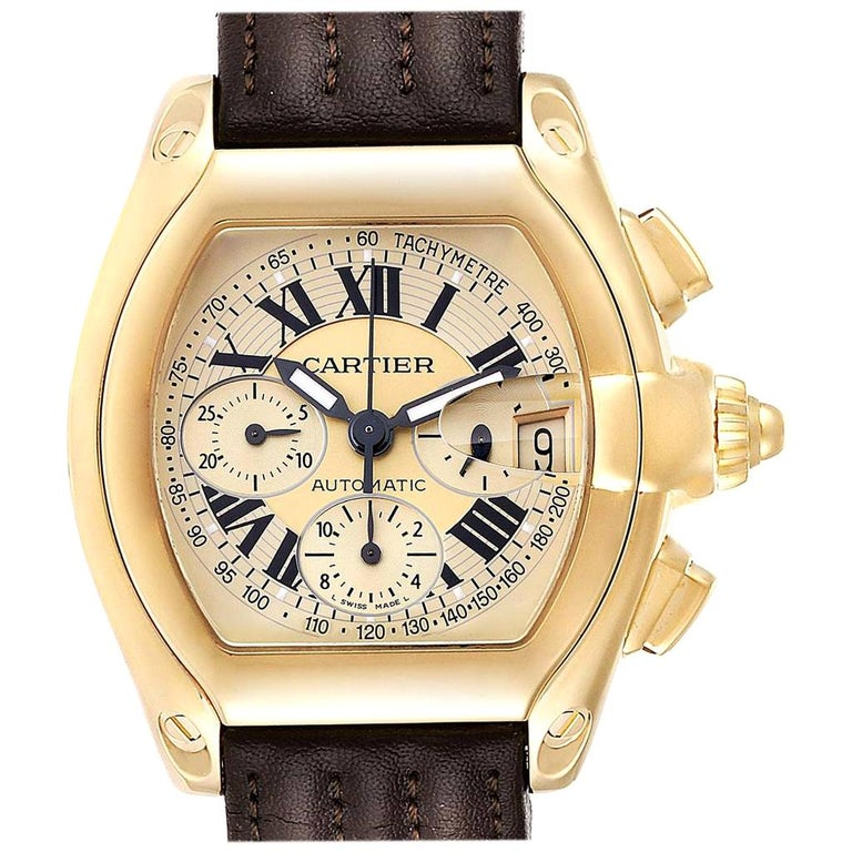 Cartier Roadster Chronograph XL 18 Karat Yellow Gold Men's Watch W62021Y3 For Sale