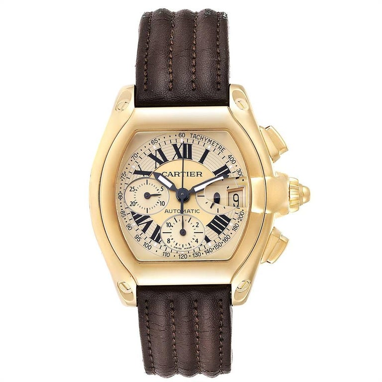 Cartier Roadster Chronograph XL 18K Yellow Gold Mens Watch W62021Y3. Automatic self-winding movement with chronograph function. 18K yellow gold tonneau shaped case 47 x 43 mm. Scratch resistant sapphire crystal with cyclops magnifying glass.