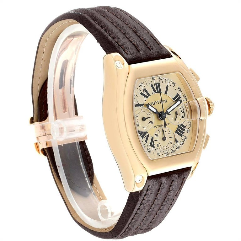 Cartier Roadster Chronograph XL 18 Karat Yellow Gold Men's Watch W62021Y3 In Excellent Condition For Sale In Atlanta, GA