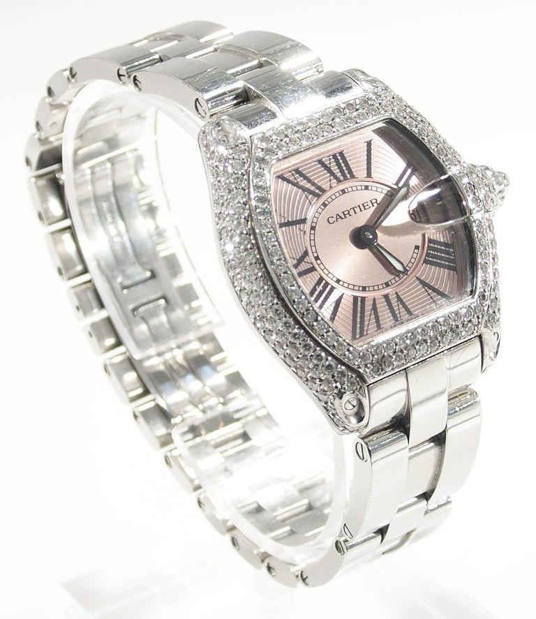 Desired by many is this Cartier Roadster Diamond Bezel Pink Face Roman  Numeral Hour b5265891f