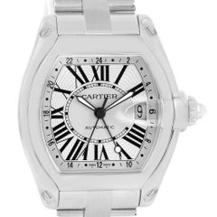 Cartier Roadster Dual Time Zone GMT Steel Men's Watch W62032X6