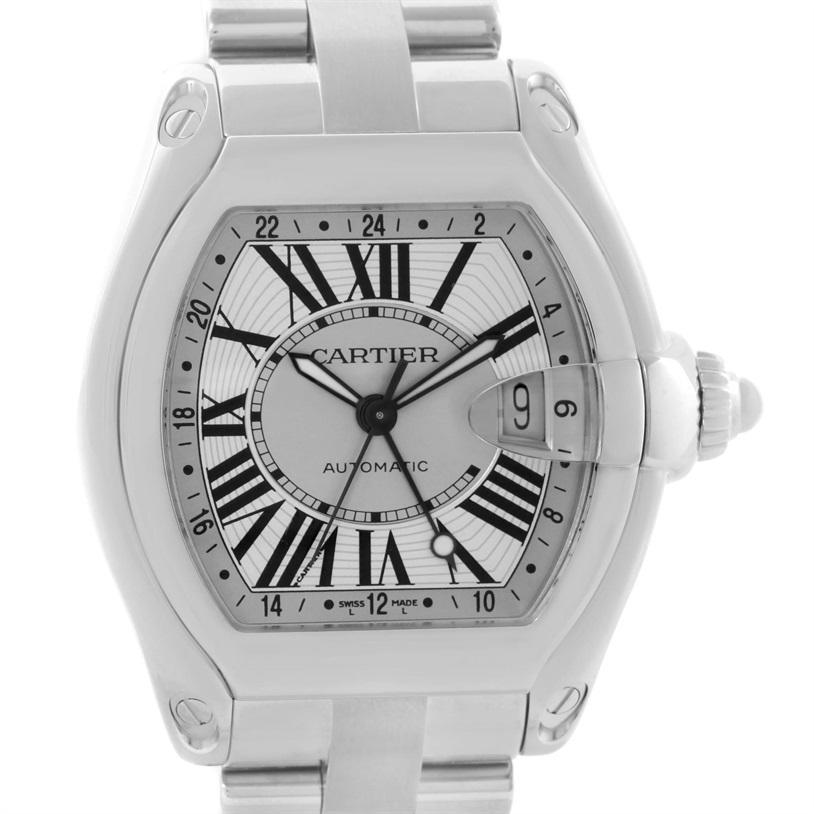 Cartier Roadster GMT Silver Dial Stainless Steel Men's Watch W62032X6