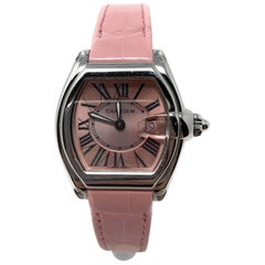 Cartier Roadster Ladies Stainless Steel Pink Dial Pink Alligator Strap