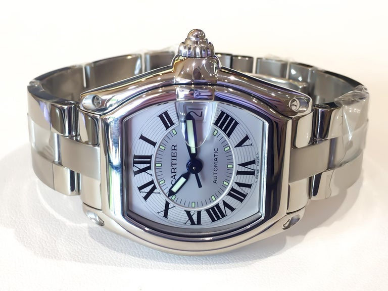 Cartier Roadster Large Silver Dial w/Date Automatic Stainless Steel Watch #2510  In Excellent Condition In Carmel-by-the-Sea, CA
