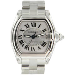 Cartier Roadster Large Silver Dial w/Date Automatic Stainless Steel Watch #2510
