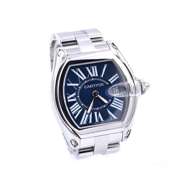 Movement: automatic self-winding Function: hours, minutes, seconds, date Case: 47.20mm x 42mm stainless steel case, screw down crown, sapphire crystal Dial: blue anniversary dial, steel sword hands, roman numeral hour markers Band: Cartier stainless