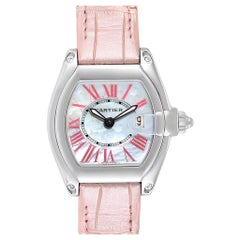 Cartier Roadster Mother of Pearl Dial Pink Roman Numerals Limited Watch W6206006
