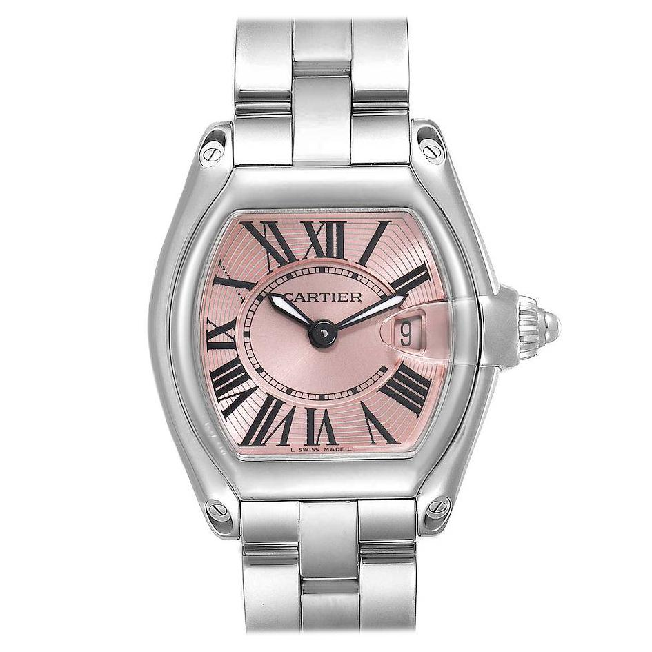 Cartier Roadster Pink Dial Stainless Steel Ladies Watch W62017V3 Box Papers