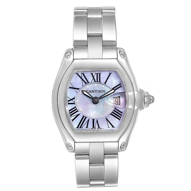 Cartier Roadster Purple Mother of Pearl Dial Steel Ladies Watch W6206007. Swiss quartz movement calibre 688. Scratch resistant sapphire crystal with cyclops magnifying glass. Scratch resistant sapphire crystal with cyclops magnifying glass. Scratch