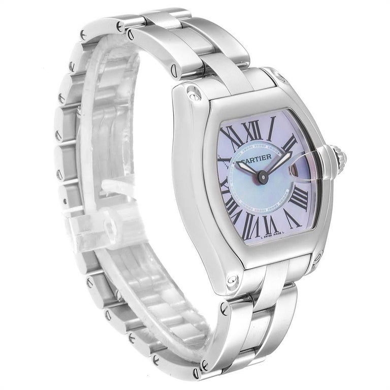 Cartier Roadster Purple Mother of Pearl Dial Steel Ladies Watch W6206007 In Excellent Condition For Sale In Atlanta, GA