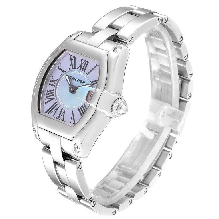Women's Cartier Roadster Purple Mother of Pearl Dial Steel Ladies Watch W6206007 For Sale