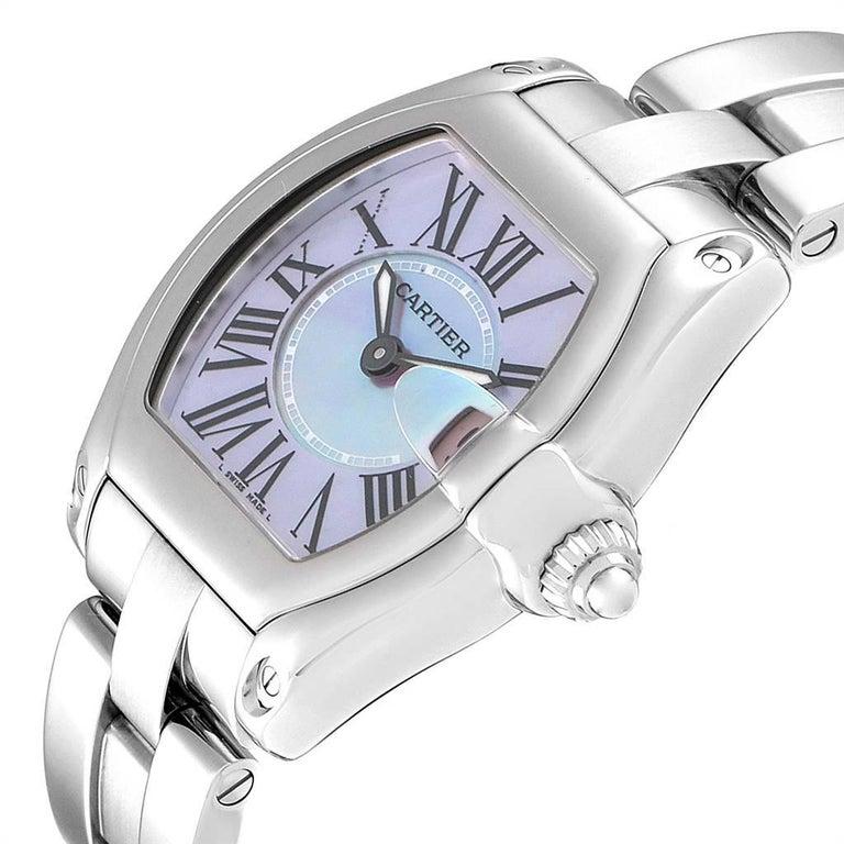 Cartier Roadster Purple Mother of Pearl Dial Steel Ladies Watch W6206007 For Sale 1
