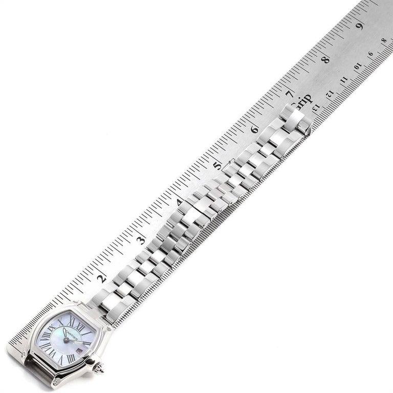 Cartier Roadster Purple Mother of Pearl Dial Steel Ladies Watch W6206007 For Sale 4