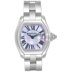 Cartier Roadster Purple Mother of Pearl Dial Steel Ladies Watch W6206007
