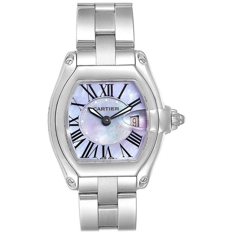 Cartier Roadster Purple Mother of Pearl Dial Steel Ladies Watch W6206007 For Sale