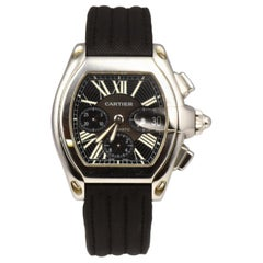 Cartier Roadster Ref. 2618 Black Dial Steel Black Strap Watch