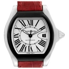 Cartier Roadster S Silver Dial Red Strap Steel Unisex Watch W6206018
