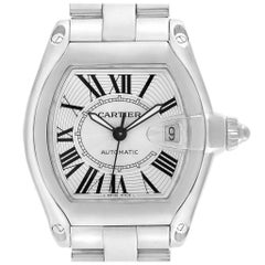 Cartier Roadster Silver Dial Steel Men's Watch W62025V3 Box Papers Strap
