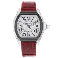 Cartier Roadster Silver Opaline Tonneau Dial Steel Leather Unisex Watch W6206018