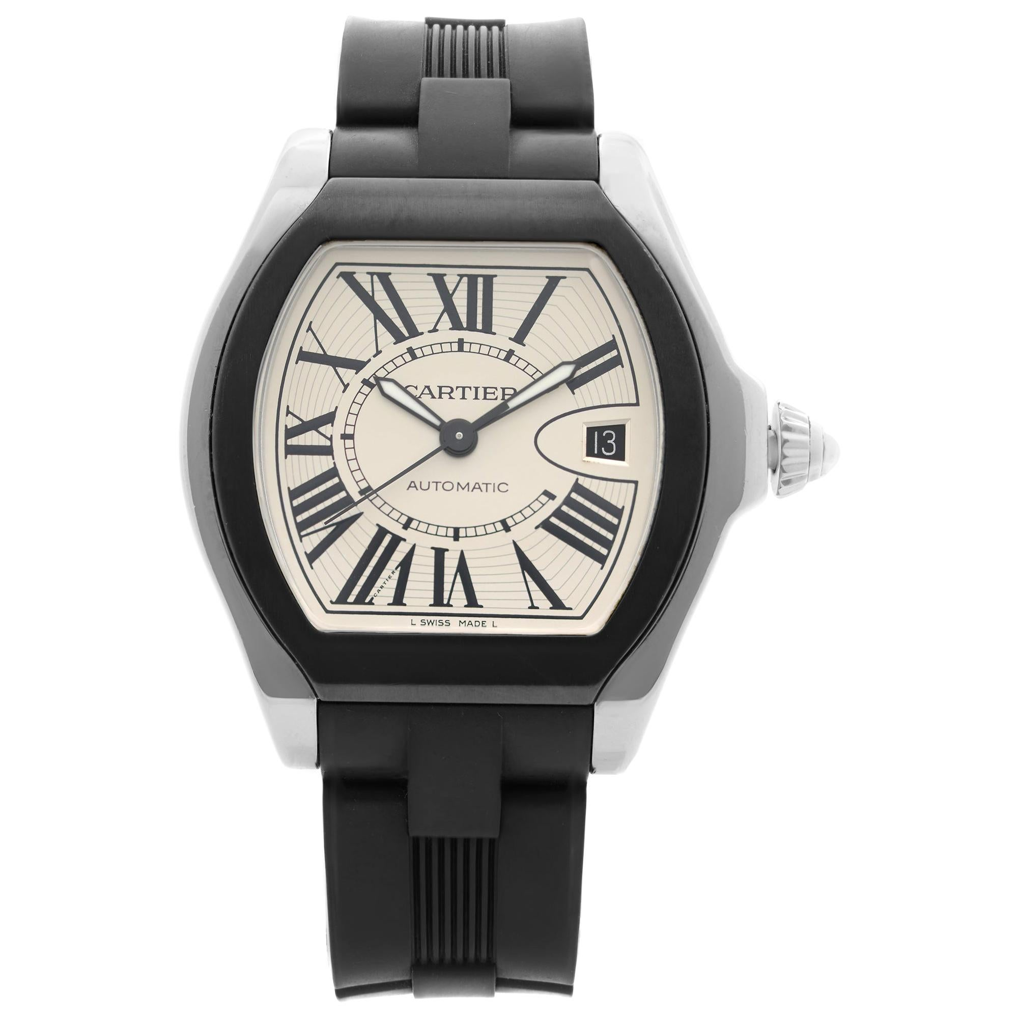 Cartier Roadster Stainless Steel Silver Roman Dial Automatic Mens Watch W6206018