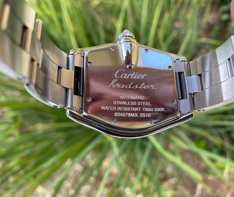 Cartier Roadster Stainless Steel Watch 604578MX In Good Condition For Sale In Rancho Santa Fe, CA