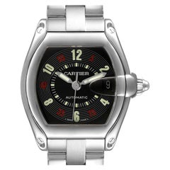 Cartier Roadster Vegas Roulette Red Green Steel Watch W62002V3 Box Papers