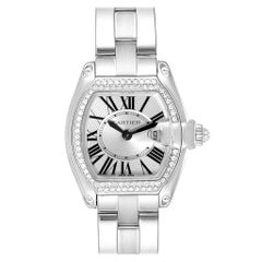 Cartier Roadster White Gold Diamond Ladies Watch WE5002X2 Box Papers
