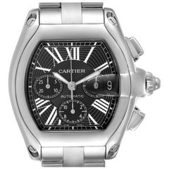 Cartier Roadster XL Chronograph Black Dial Mens Watch W62020X6 Box Papers