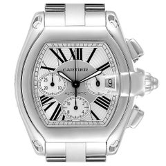 Cartier Roadster XL Chronograph Men's Watch W62019X6 Box Papers Strap