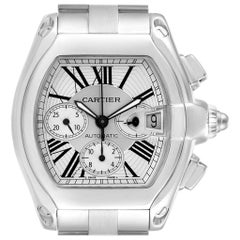 Cartier Roadster XL Chronograph Steel Men's Watch W62019X6 Box Papers