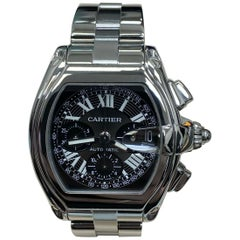 Cartier Roadster XL Ref 2618 W62020X6 Black Chronograph Dial Stainless Steel