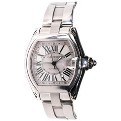 Cartier Roadster XXL Silver Roman Numeral Dial Stainless Steel Men's Watch
