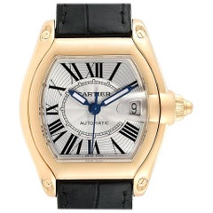 Cartier Roadster Yellow Gold Large Men's Watch W62005V2 Box Papers