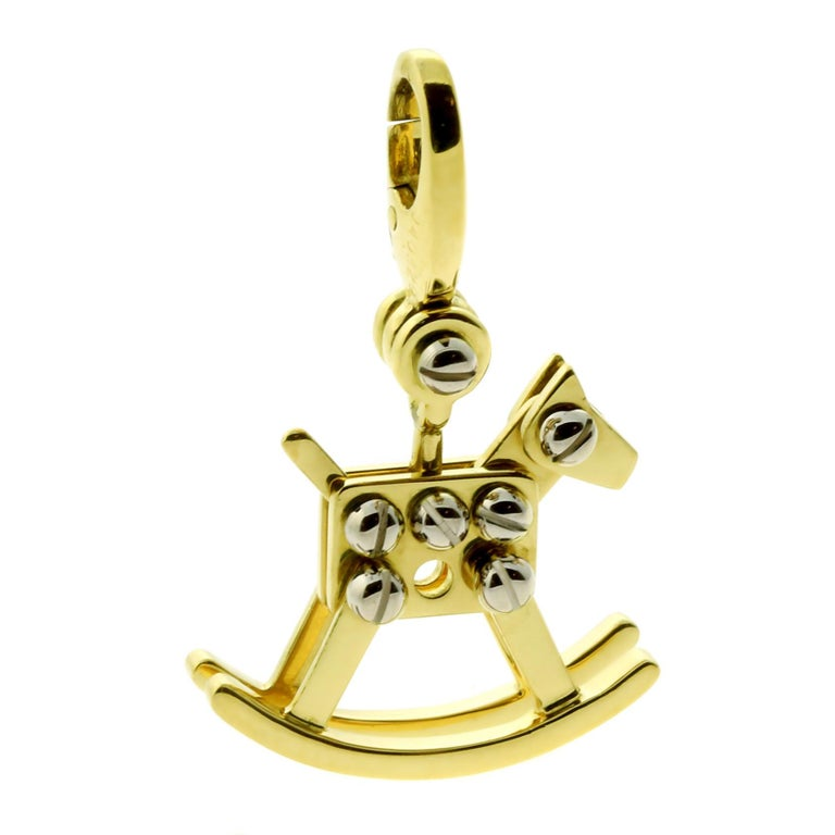 Cartier Rocking Horse Charm Gold Pendant In Excellent Condition For Sale In Feasterville, PA