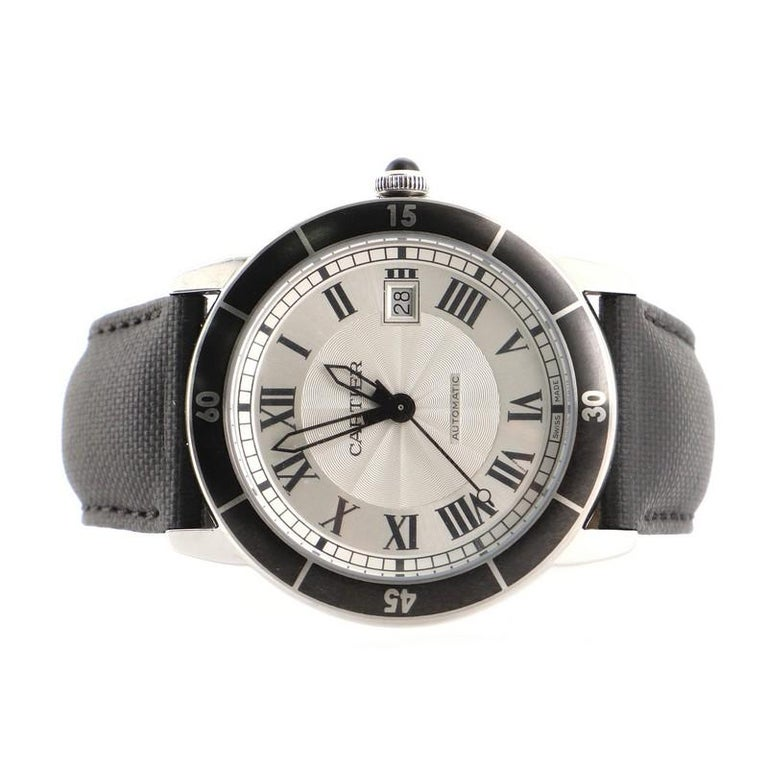 Cartier Ronde Croisiere de Cartier Automatic Watch Stainless Steel and Leather In Good Condition For Sale In New York, NY
