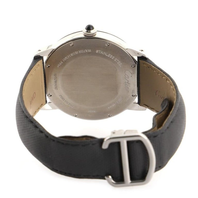 Women's or Men's Cartier Ronde Croisiere de Cartier Automatic Watch Stainless Steel and Leather For Sale